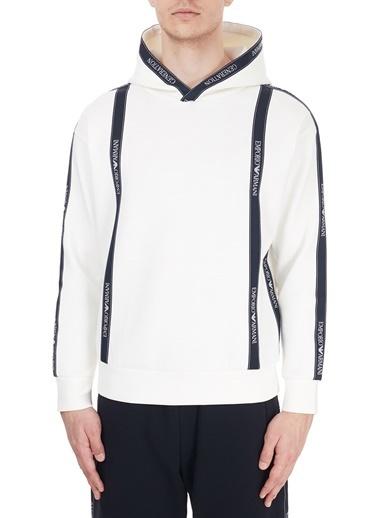 Emporio Armani  Logo Bantlı Kapüşonlu Pamuklu Sweat Erkek Sweat S 6H1M82 1Jhsz 0101 Beyaz